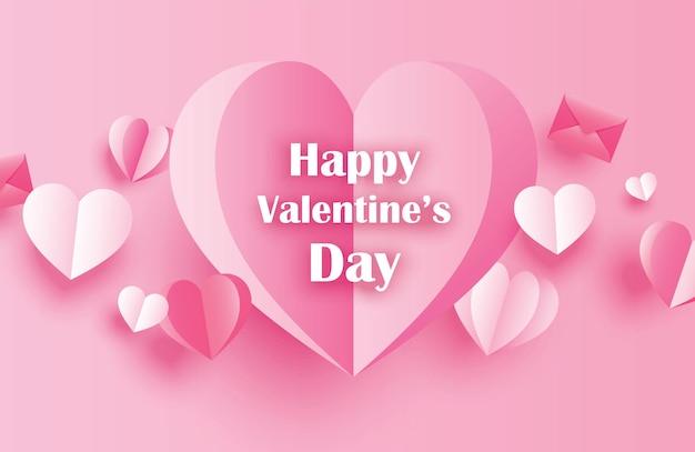 Cartes de voeux joyeux saint valentin avec des coeurs en papier sur fond pastel rose.