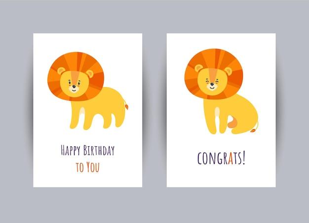 Cartes de voeux avec des lions mignons. jeu de cartes de joyeux anniversaire. illustration vectorielle en style cartoon