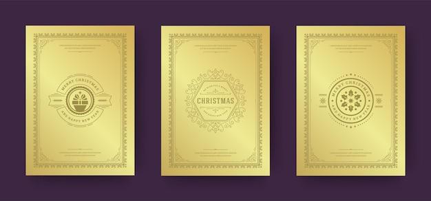 Les cartes de voeux de noël conçoivent des symboles de décoration ornés avec des souhaits de vacances d'hiver de boîte-cadeau