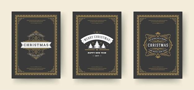 Les cartes de voeux de noël conçoivent des symboles de décoration ornés avec des vacances d'hiver d'arbre souhaite vintage