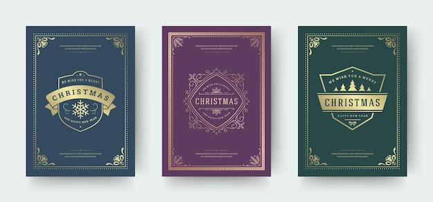 Cartes de voeux de noël design typographique vintage symboles de décorations ornées avec hiver flocon de neige