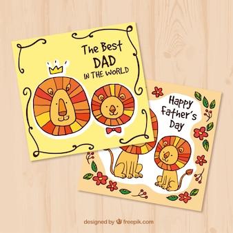 Cartes de voeux pour le père et les lions dessinés à la main
