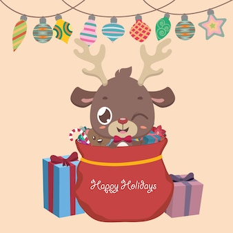 Cartes de vœux avec un renne, des cadeaux et des ornements