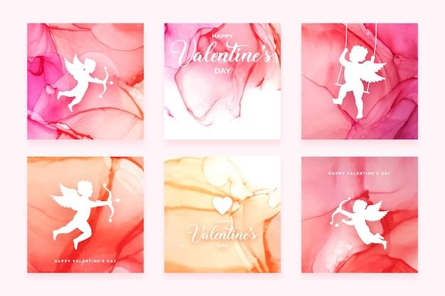 Cartes de voeux de la saint-valentin avec encre d'alcool rose et rouge et silhouettes de cupidon