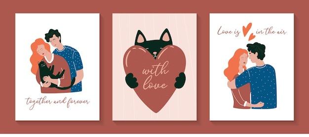 Cartes de voeux saint valentin illustration vectorielle d'un couple amoureux et chat mignon