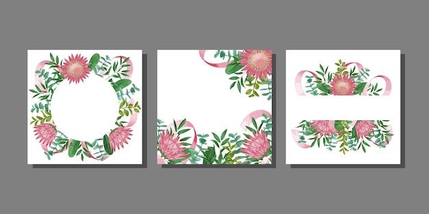 Cartes de voeux sertie de branches d'herbes et de buissons de fleurs avec des feuilles dans un style aquarelle