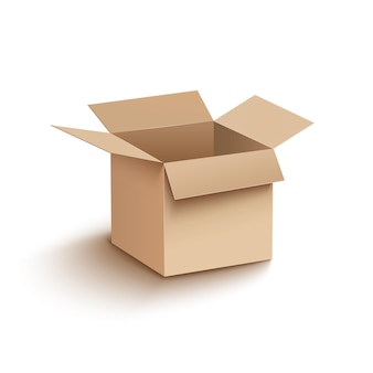 Carton de boîte ouverte sur blanc