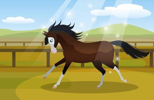 Carton cheval court dans l & # 39; illustration du paddock