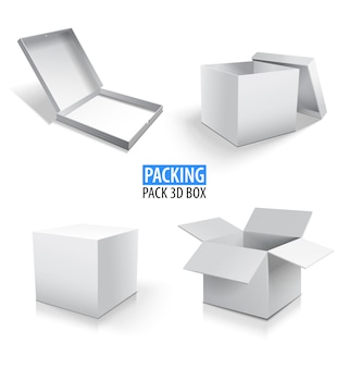 Carton d'emballage 3d boîte blanche. ensemble de boîtes en carton fermées et ouvertes sur blanc.