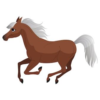 Carton horse court à une illustration de galop pour livre pour enfants