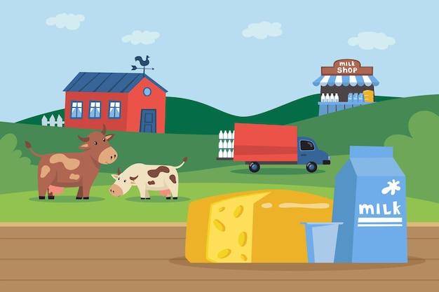Carton de lait et de fromage devant l'illustration de la ferme laitière