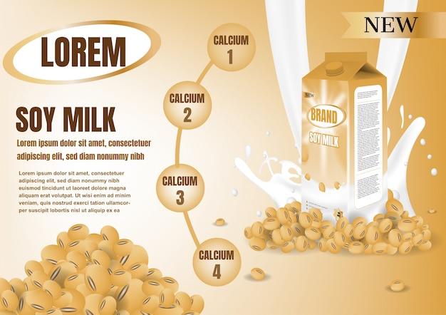 Carton de lait jaune avec éclaboussures de lait