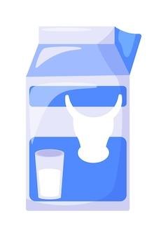 Carton de lait de vache tetra pack isolé sur fond blanc