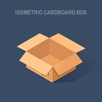 Carton ouvert isométrique, boîte en carton sur fond. paquet de transport en magasin, distribution.