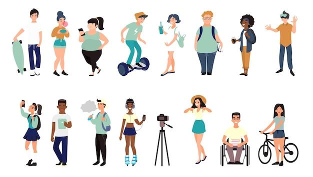 Cartoo flat adolescents multiraciaux groupe d'étudiants internationaux avec des gadgets