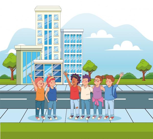 Cartoon adolescents dans la rue