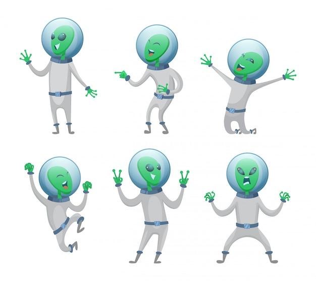 Cartoon aliens dans diverses poses d'action