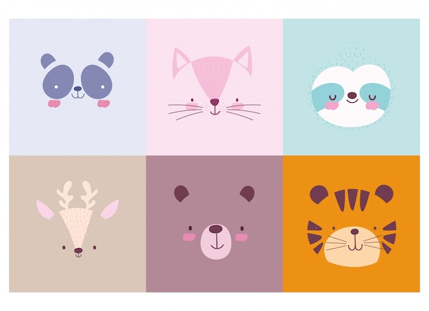 Cartoon animaux mignons personnages visages collection