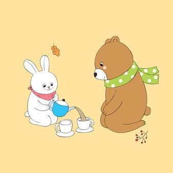 Cartoon automne mignon et vecteur de temps thé ours.