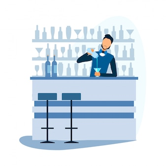 Cartoon barman prépare un cocktail alcoolisé au bar