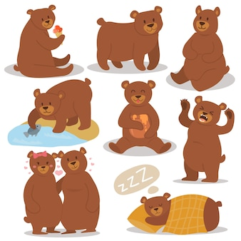 Cartoon bear character différent pose set.