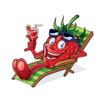 Cartoon berry se détendait sur une chaise de plage, brandissant des verres de boisson