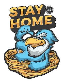 Cartoon bird stay at home illustration