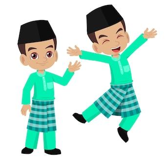 Cartoon boy happy portant des vêtements traditionnels malais
