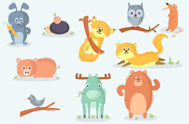 Cartoon caractères animaux de la forêt