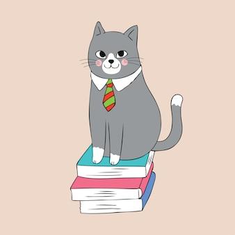 Cartoon chat mignon et vecteur de livre.