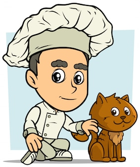Cartoon chef cuisinier personnage garçon avec chat