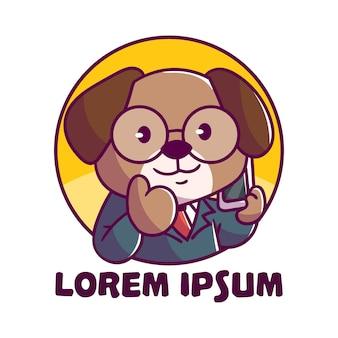 Cartoon de chien d'affaires logo mignon mascotte