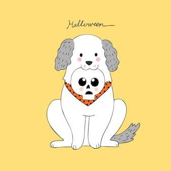 Cartoon chien mignon halloween et vecteur d'os tête.