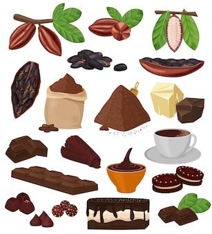 Cartoon chocolat chocolat cacao aliments sucrés à partir de coco-haricots gâteau confection illustration ensemble de fruits tropicaux et poudre de cacao pour boisson et biscuit isolé sur fond blanc