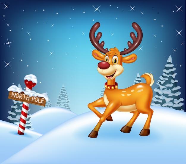 Cartoon christmas background avec des cerfs heureux