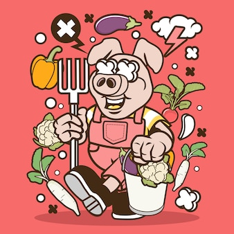 Cartoon cochon fermier