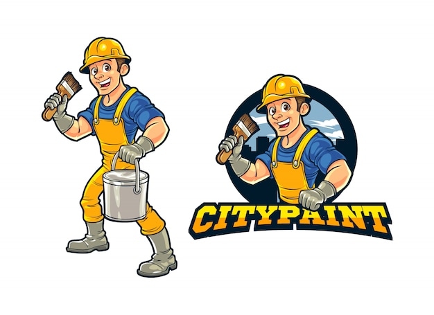 Cartoon construction worker city wall painter caractère mascot logo