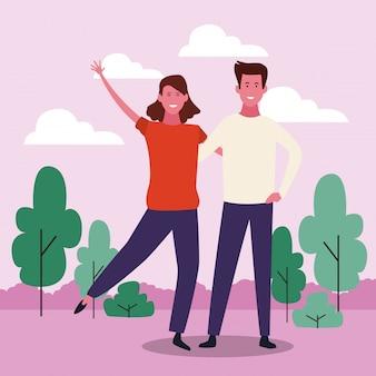 Cartoon couple adulte, design coloré