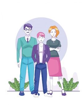 Cartoon couple adulte avec jeune garçon debout sur des plantes décoratives et fond blanc, illustration vectorielle