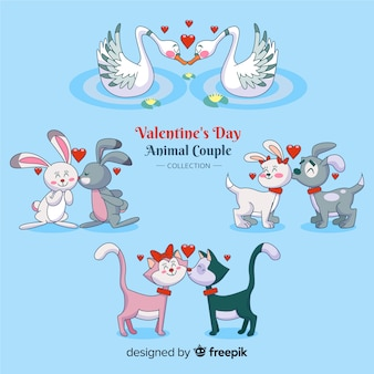 Cartoon couple pack d'animaux de la saint-valentin