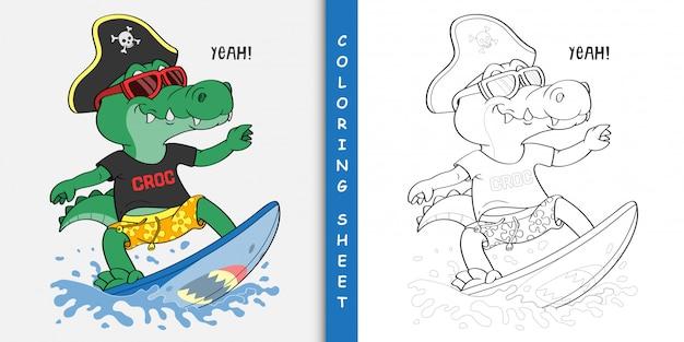 Cartoon crocodile surfing, feuille à colorier