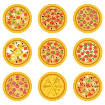 Cartoon délicieuses pizzas avec différents ingrédients. plat italien traditionnel ou concept de restauration rapide. plat pour affiche, flyer, café, menu pizzeria
