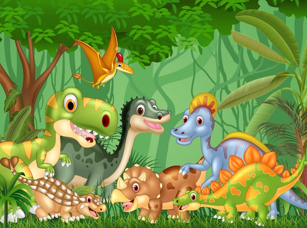 Cartoon dinosaures heureux dans la jungle