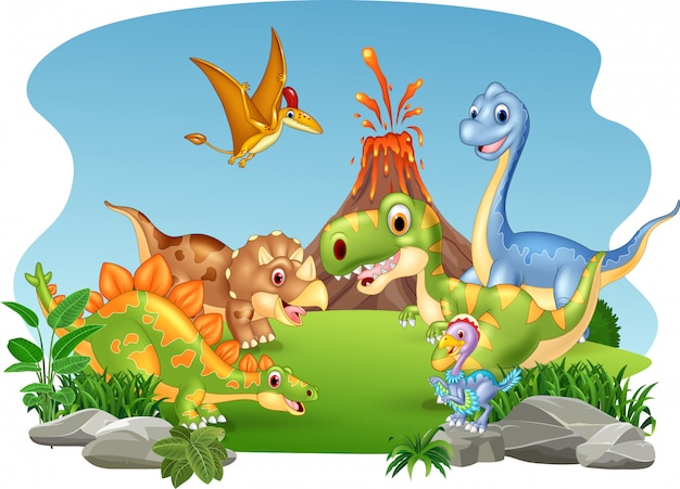Cartoon dinosaures heureux dans la jungle