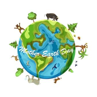 Cartoon earth illustration isolé sur fond blanc