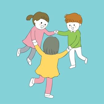 Cartoon étudiants mignons jouant le vecteur.