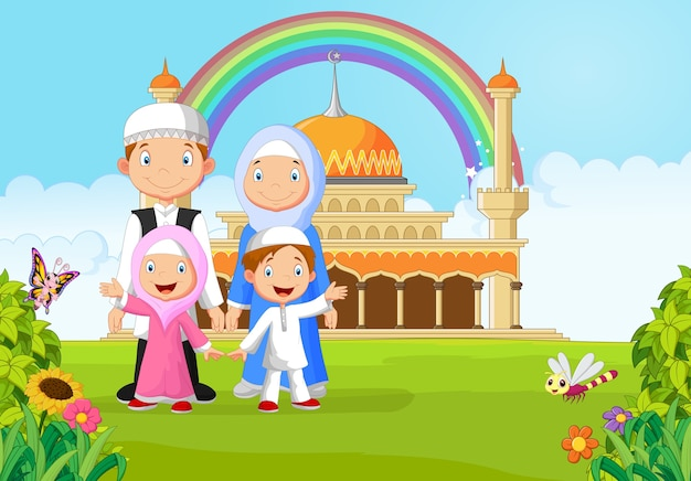 Cartoon famille musulmane heureuse avec arc-en-ciel