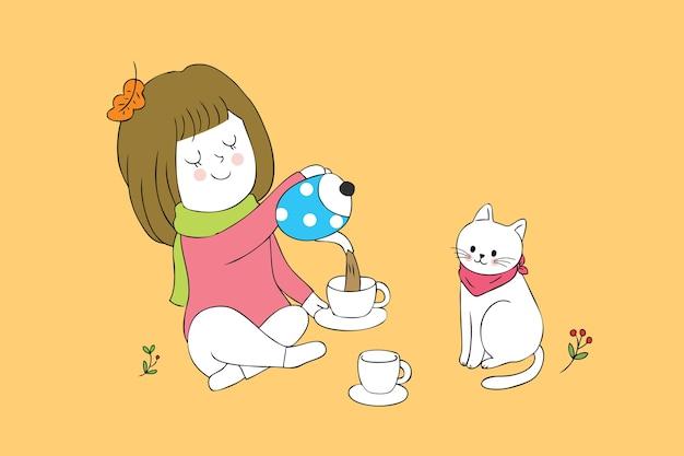 Cartoon fille mignonne et chat temps de thé vecteur.