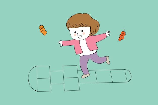 Cartoon fille mignonne jouant vecteur.