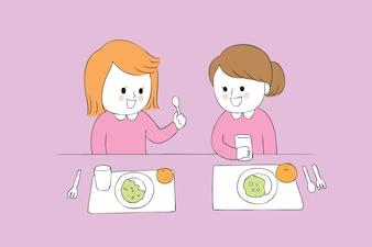 Cartoon filles mignonnes manger vecteur.